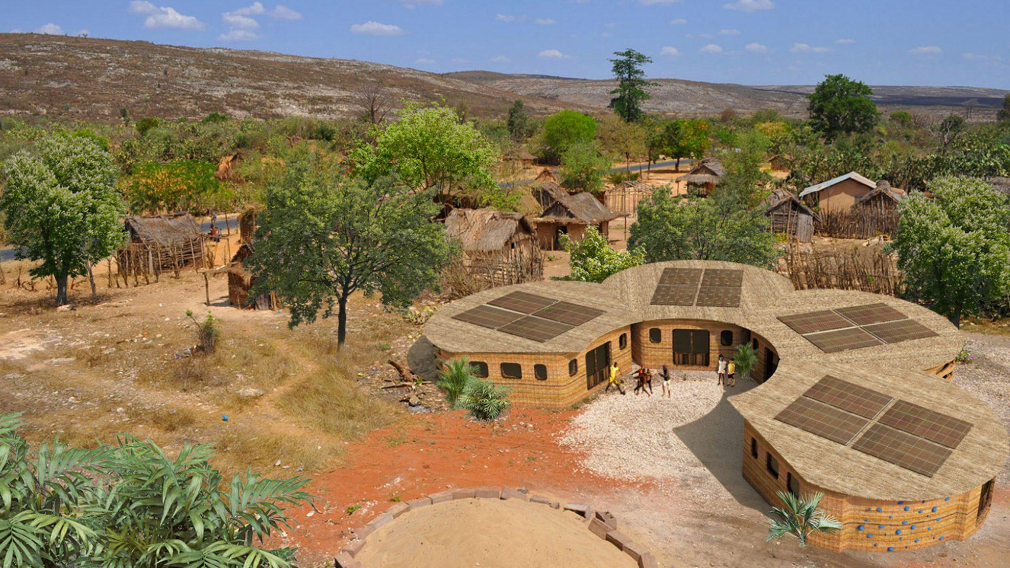 스튜디오 모르타자비, 마다가스카르에 3D 프린팅 기술로 파드기법의 학교 건물 짓는다